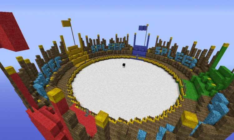 Where Minecrafters play spleef, a mini-game in Minecraft